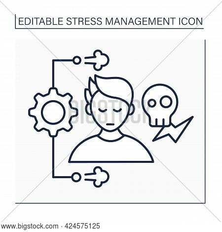 Stress Management Line Icon. Controlling Person Stress Level. Avoid Stressful Situations. Mental Hea