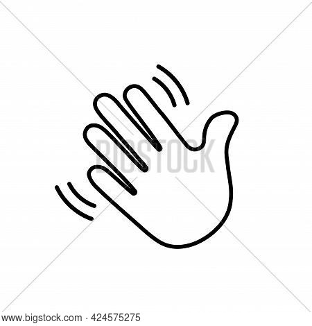 Clubhouse Icon In Flat Style. Vector Icon Symbolizing Gesture Wave Hand, Hello, Hi, Bye, Goodbye, He