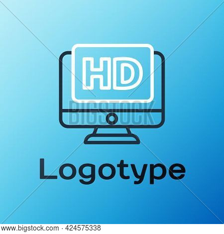 Line Computer Pc Monitor Display With Hd Video Technology Icon Isolated On Blue Background. Colorful