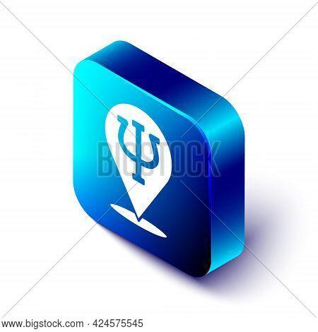 Isometric Psychology Icon Isolated On White Background. Psi Symbol. Mental Health Concept, Psychoana