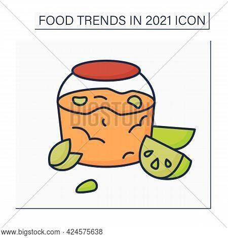 Jelly Recipe Color Icon. Jalapeno Pepper Jelly. Delicious Sweet And Spread. Food Trends Concept. Iso