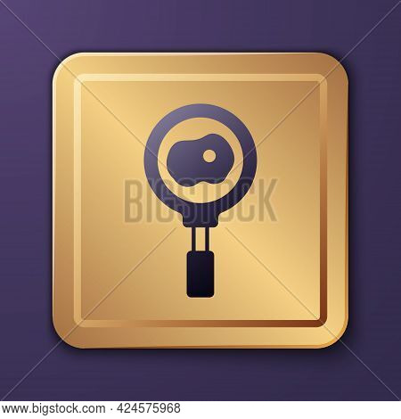 Purple Fried Eggs On Frying Pan Icon Isolated On Purple Background. Fry Or Roast Food Symbol. Gold S