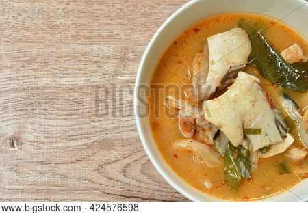 Boiled Salmon Fish In Spicy Tom Yum Soup On Bowl