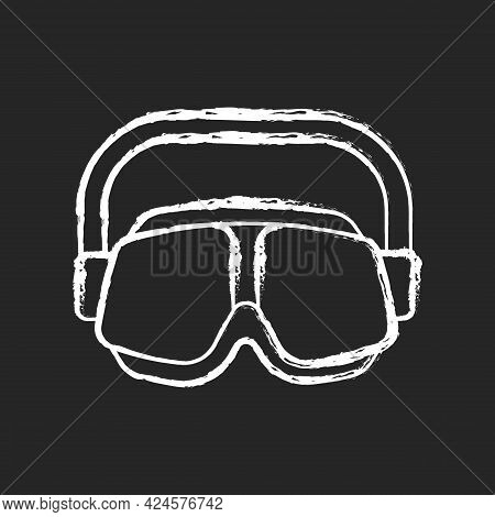 Swimming Goggles Chalk White Icon On Dark Background. Eyes Protection In Swimming Pool. Watertight E