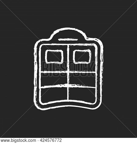 Double Pool Float Chalk White Icon On Dark Background. Dual Air Mattress. Pool Party. Floating Exper