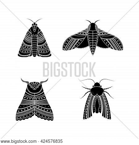 Set Of Moths In Boho Styles. Geometric Tribal Illustration In A Simple Style.
