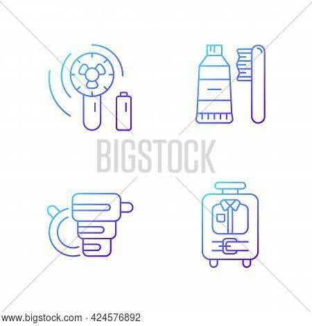 Things For Travelling Tourist Suitcase Gradient Linear Vector Icons Set. Compact Fan. Toothbrush And