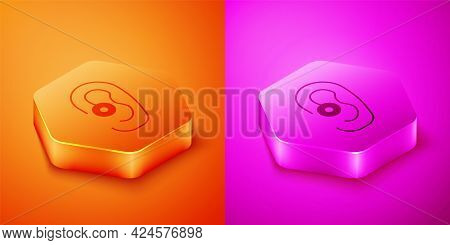 Isometric Hearing Aid Icon Isolated On Orange And Pink Background. Hearing And Ear. Hexagon Button.