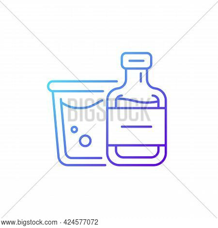 Airplane Alcohol Gradient Linear Vector Icon. Mini Bottled Drinks From Duty Free. Travel Size Object