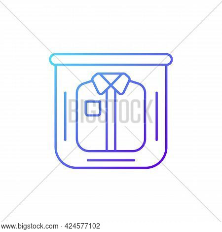 Clothing In Plastic Bag Gradient Linear Vector Icon. Clear Compress Wrap For Garment Packing. Travel