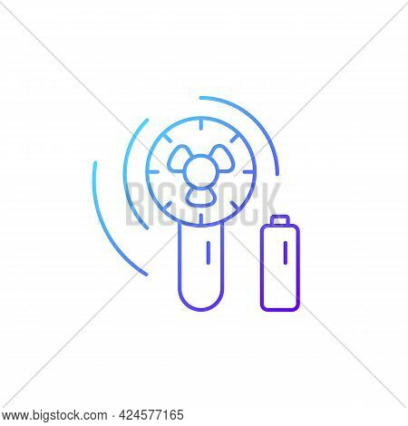 Mini Travel Fan Gradient Linear Vector Icon. Portable Amenities For Comfort During Summer Vacation.