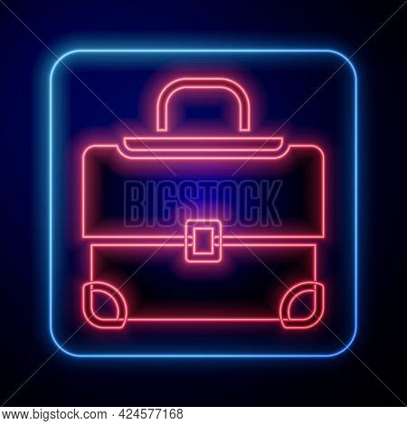 Glowing Neon Briefcase Icon Isolated On Black Background. Business Case Sign. Business Portfolio. Ve