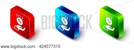 Isometric Coins On Hand - Minimal Wage Icon Isolated On White Background. Red, Blue And Green Square