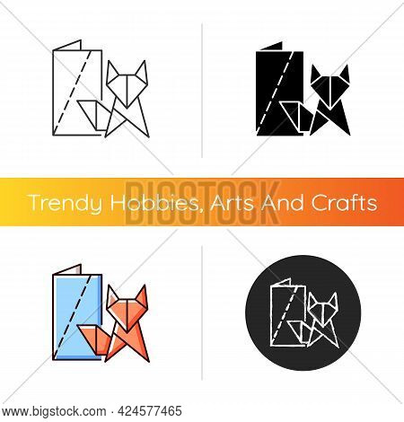Origami Icon. Paper Folding Art. Two-dimensional And Three-dimensional Models. Paper Objects Creatio
