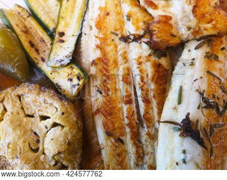 Flat Service Of Sea Fish Mixed With Grills