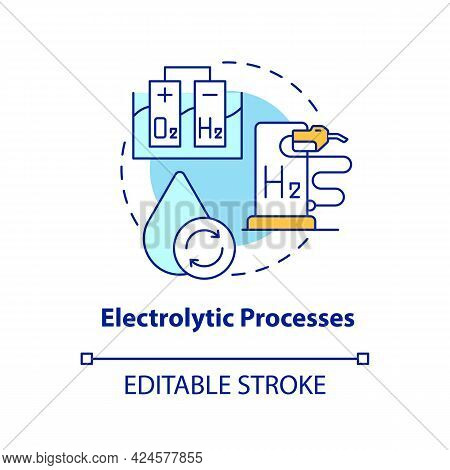 Electrolytic Processes Concept Icon. Hydrogen Fuel Production Method Abstract Idea Thin Line Illustr