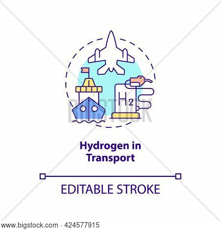 Hydrogen In Transport Concept Icon. Use Renewable Energy Abstract Idea Thin Line Illustration. Zero-