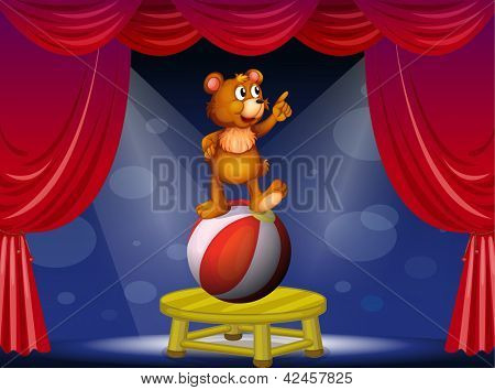 Illustration of a bear at the circus show