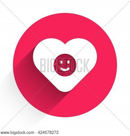 White Good Relationship Icon Isolated With Long Shadow. Romantic Relationship Or Pleasant Meeting Co