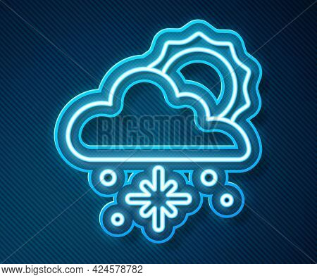 Glowing Neon Line Cloud With Snow And Sun Icon Isolated On Blue Background. Cloud With Snowflakes. S