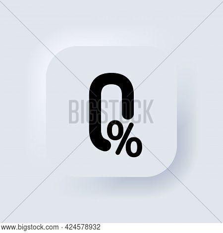 Zero Percent. Zero Fees Icon. Commission Zero Percent Line Icons. Vector. Certificate Icon. Neumorph