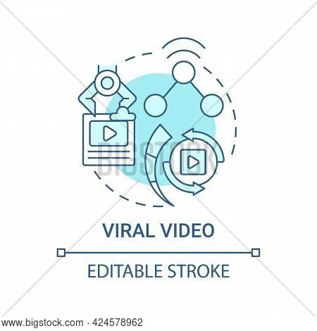 Viral Video Concept Icon. Top Viral Post Abstract Idea Thin Line Illustration. Quickly Spreading Thr