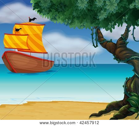 Illustration of a wooden boat near the shoreline