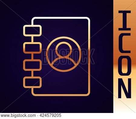 Gold Line Address Book Icon Isolated On Black Background. Notebook, Address, Contact, Directory, Pho
