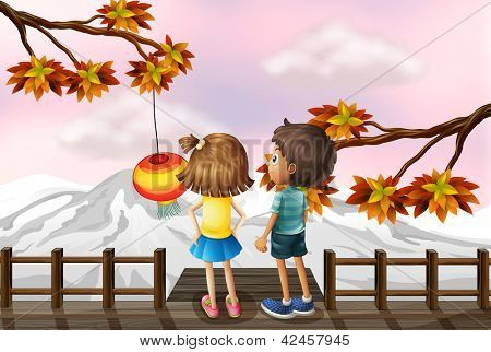 Illustration of a young girl and a young boy at the bridge