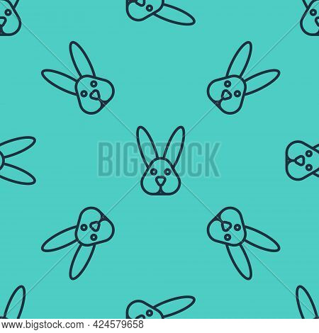 Black Line Animal Cruelty Free With Rabbit Icon Isolated Black Line Background. Vector