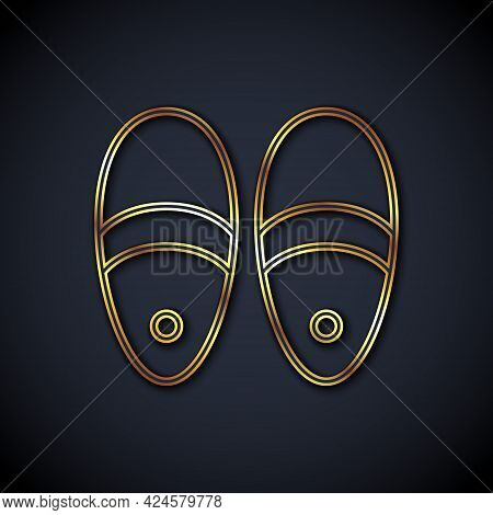 Gold Line Slippers Icon Isolated On Black Background. Flip Flops Sign. Vector