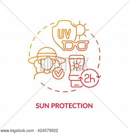 Sun Protection Concept Icon. Summer Vacation Safety Abstract Idea Thin Line Illustration. Applying S