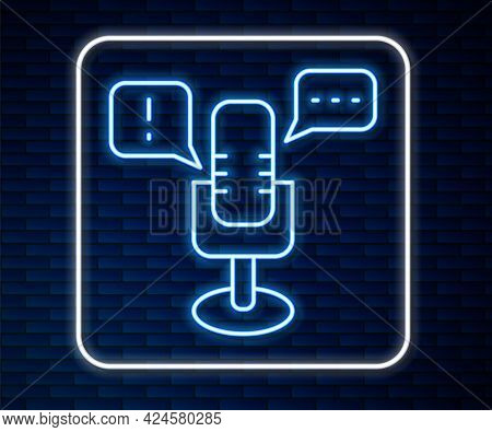Glowing Neon Line Freedom Of Speech Icon Isolated On Brick Wall Background. Freedom Of Expression. V
