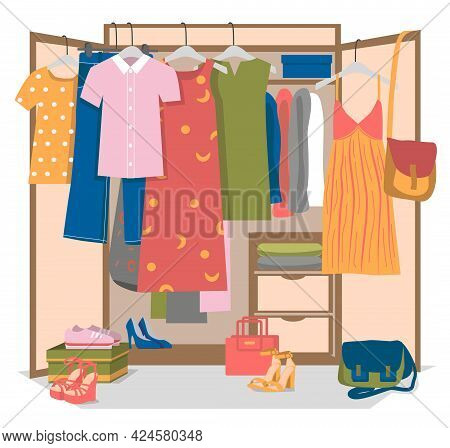 Emale Wardrobe Or Closet. Summer Woman Shoes, Bags And Clothes Hanging On Hangers, Lying On Shelves