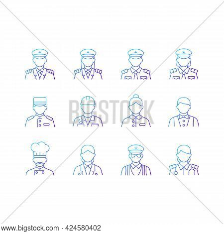 Cruise And Hotel Staff Gradient Linear Vector Icons Set. Comfortable Vacation. Proffesional Crew Con