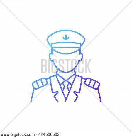 Male Captain Gradient Linear Vector Icon. Person Controling All Cruise Crew. Providing Best Service.