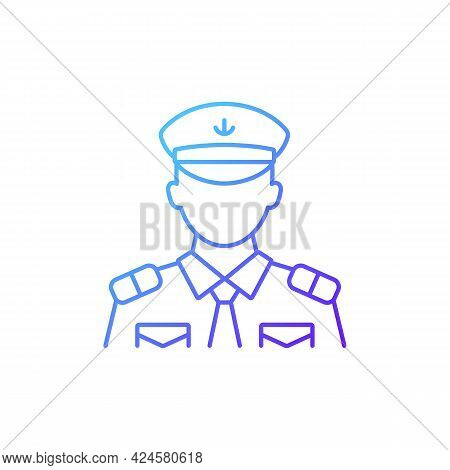 Male Chief Officer Gradient Linear Vector Icon. Controlling Crew. Cruise Travel For Visitors. Thin L