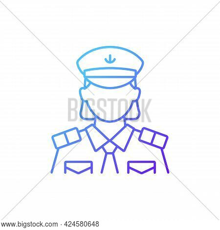 Female Chief Officer Gradient Linear Vector Icon. Crew Member Of Cruise. Making Travel Comfortable.