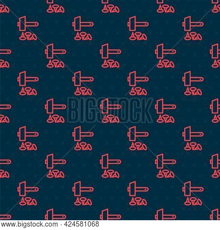Red Line Crucifixion Of Jesus Christ Icon Isolated Seamless Pattern On Black Background. Hammer And