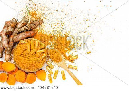 Organic Curcumin Or Turmeric Powder, Capsule, And Fresh Root On White Background, For Health Care Or