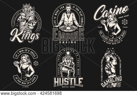 Casino And Poker Game Vintage Labels With Roulette Wheel Dice Gambling Chips Skeleton King And Gambl