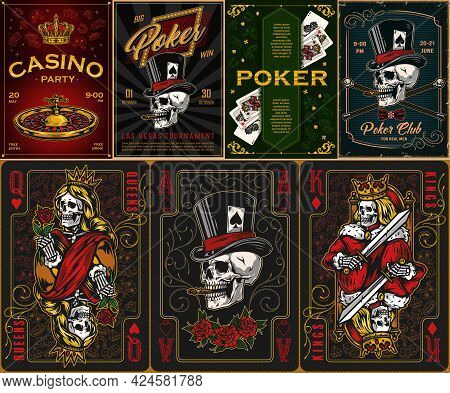 Gambling Vintage Posters Set With Inscriptions Roulette Wheel Crown Crossed Walking Canes Playing Ca