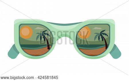 Vector Illustration Of A Sunglasses With A Reflection Of The Beach Landscape. Beach, Palm Tree, Sea