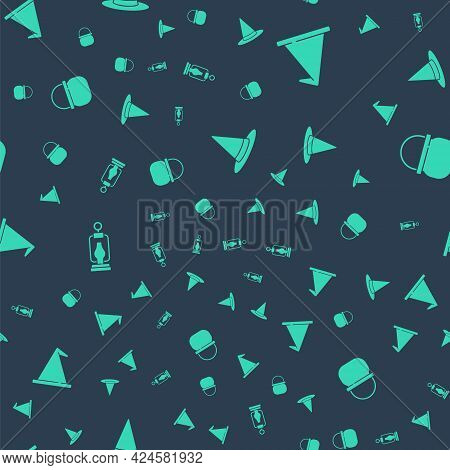 Set Witch Hat, , Camping Lantern And Halloween Witch Cauldron On Seamless Pattern. Vector