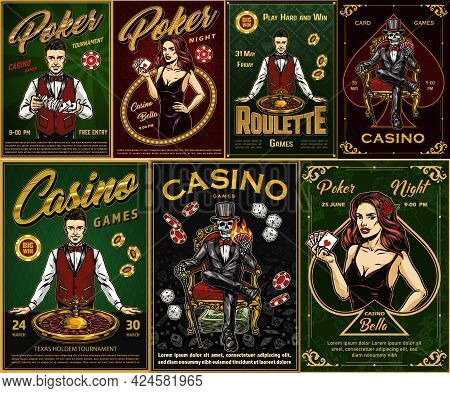 Casino Vintage Posters With Smiling Croupiers Roulette Wheel Pretty Women Holding Playing Cards With