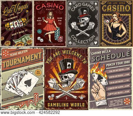 Casino Colorful Posters With Pretty Ladies In Dresses Slot Machine Dollar Banknotes Male Hand Holdin