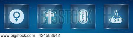 Set Venus, Christian Cross, Magic Runes And Poison In Bottle. Square Glass Panels. Vector