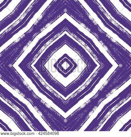 Medallion Seamless Pattern. Purple Symmetrical Kaleidoscope Background. Textile Ready Uncommon Print