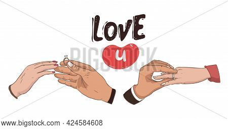 Set Of Hands. Will You Marry Me. Marriage Proposal Vector Illustration With Wedding Ring And Male An