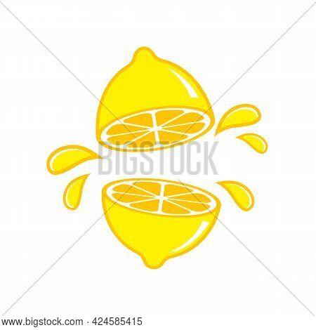 Lemon Vector.lemon Halves With A Splash Of Lemon Juice